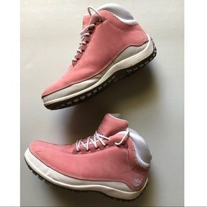 Timberland pink & white boots